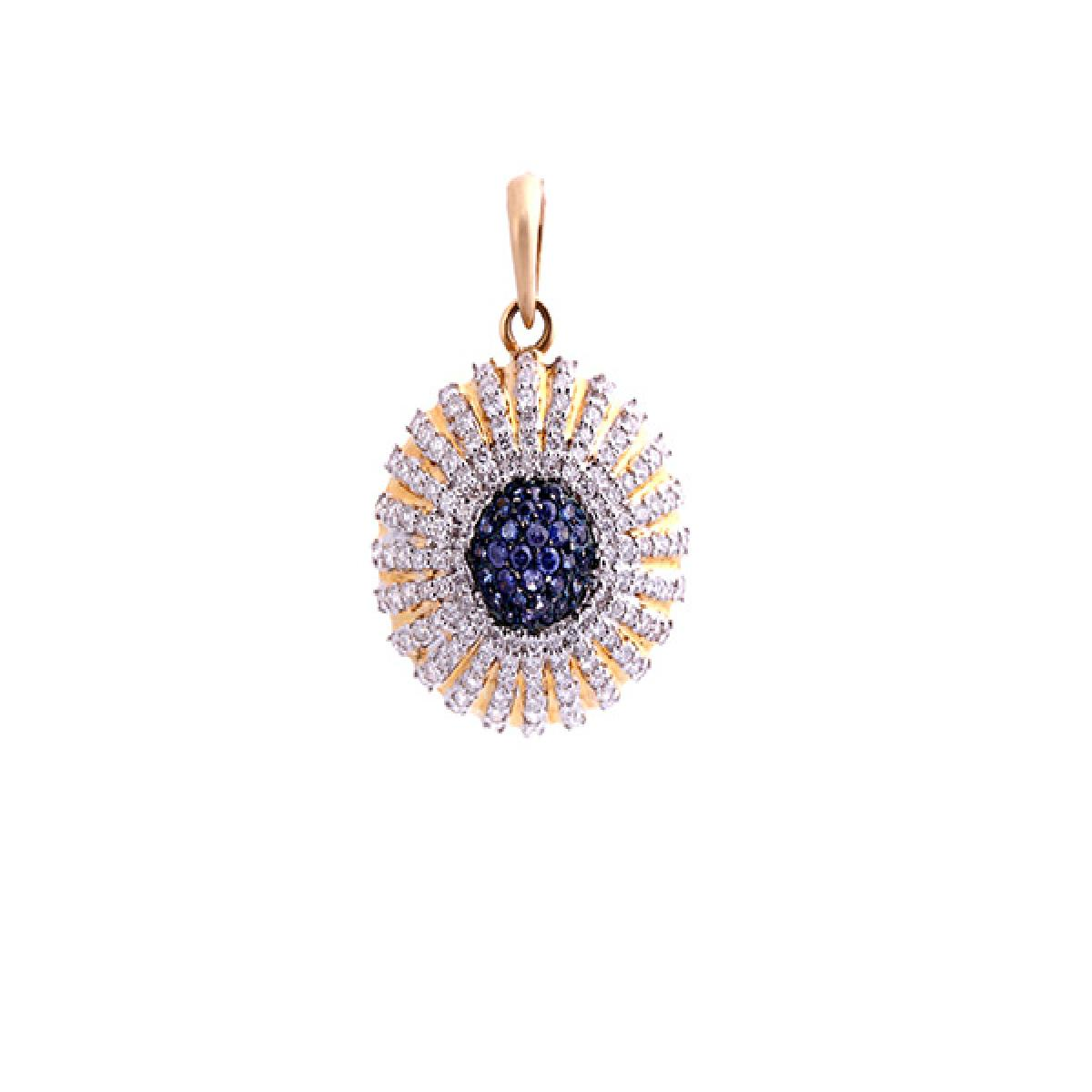 diamond pendant with blue color